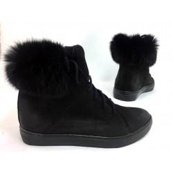 Toria Blanic 1704 czarne botki sneakers z futerkiem