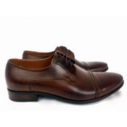 Wizytyowe Krisetti 402 brązowe skórzane pantofle