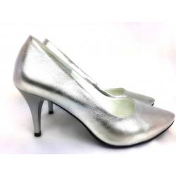 Toria Blanic 912 srebrne skórzane czółenka