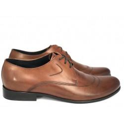 Pilpol 637 brązowe szerokie skórzane pantofle wizytowe