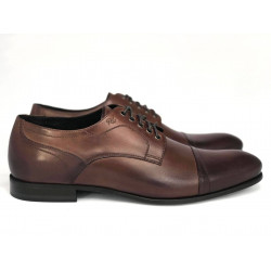 Elegnackie brązowe skórzane męskie pantofle wizytowe  Pilpol 1329