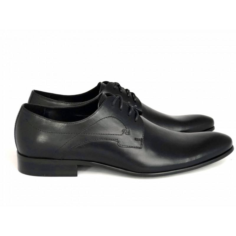 Pilpol 678 czarne lakierowane pantofle wizytowe