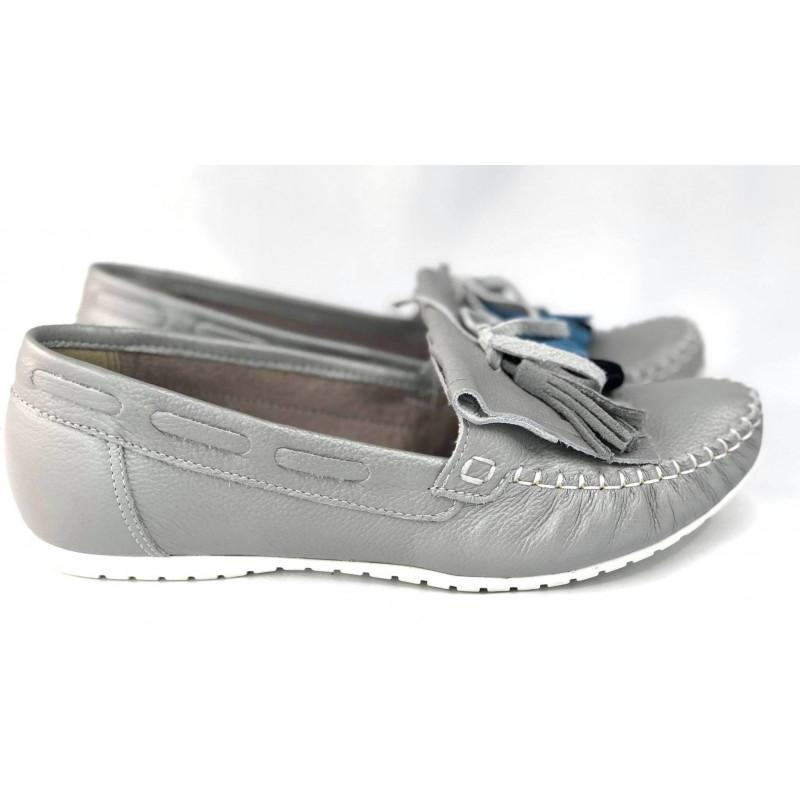 Mokasynki damskie DAMIANO pudrowe różowe skórzane buty EVA 3405