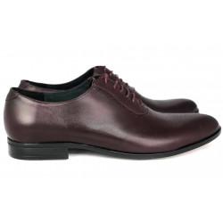 Wizytowe  brązowe oksfordy skórzane męskie pantofle GOLD  342