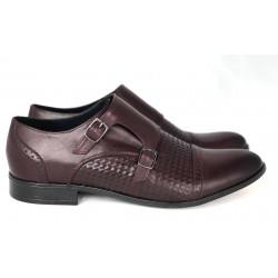 Wizytowe  bordowe oksfordy skórzane męskie pantofle GOLD  342