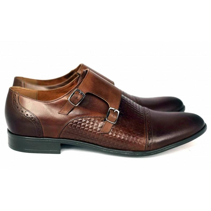 Wizytowe  bordowe  pantofle skórzane męskie 3D  ALEXANDER 355