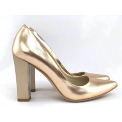 Czółenka skórzane złote na słupku SOFIA Toria Blanic 207G