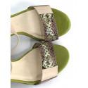 Bellum 2676 beżowo/granatowe skórzane sandałki