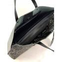 Granatowa skórzana torebka z długimi rączkami LENA