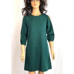 Zielona luzna sukienka z falbanką By MIELCZARKOWSKI