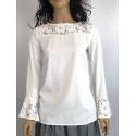 Musztardowa STELLA bluzka koszulowa z żabotem