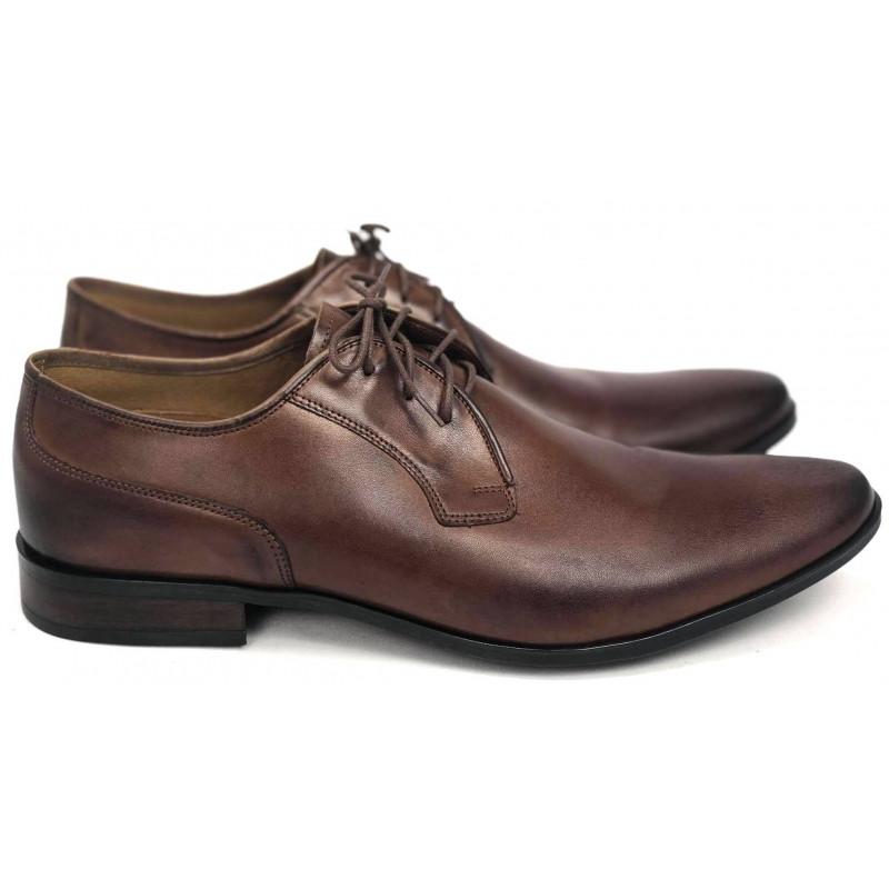 Wizytowe lakierowane męskie pantofle skórzane Kris 1010