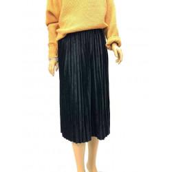 Plisowana zielona spódnica Melania z gumką w pasie