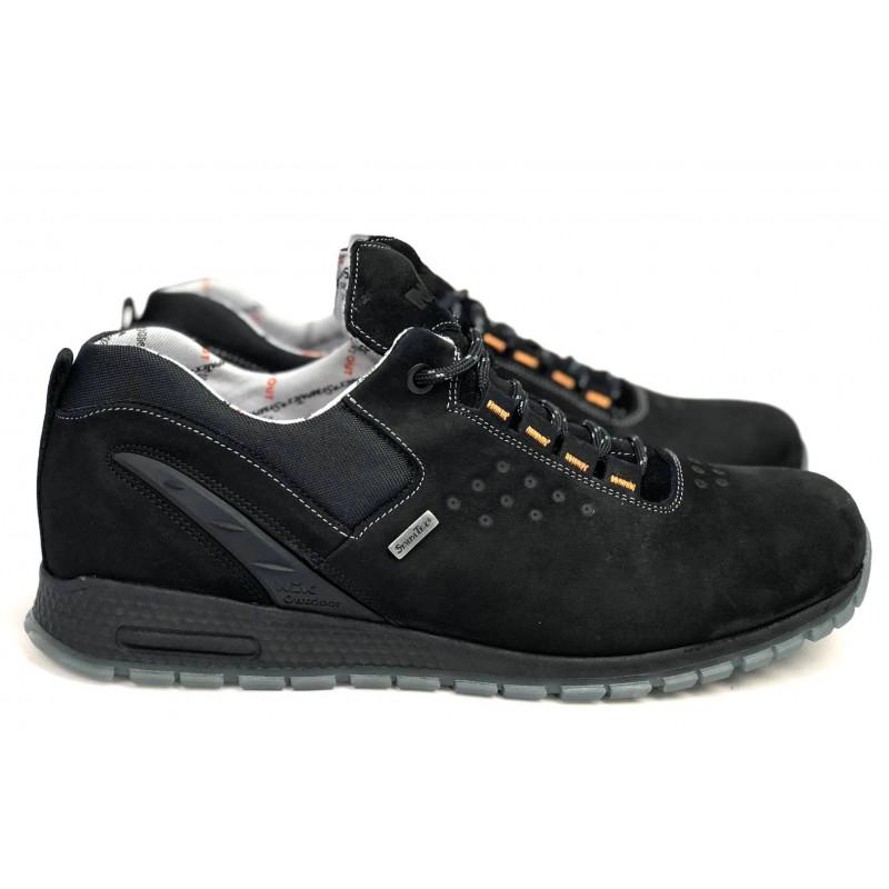 Męskie sznurowane czarne skórzane buty NIK 0950