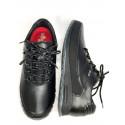 Sportowe męskie sznurowane czarne skórzane buty NIK 0946