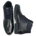 Męskie sneakersy czarne skórzane buty przed kostkę  NIK 0497