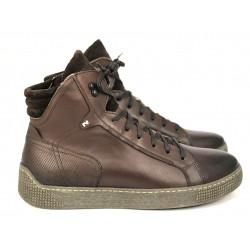 Męskie sneakersy czarne skórzane buty za kostkę  NIK 0599