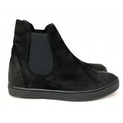 Czarne botki sneakersy ze skóry naturalnej nubukowej VOICE 1712