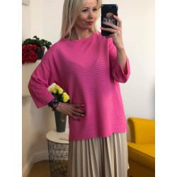 Kobiecy luzny neonowy sweter oversize RÓŻOWY AZAL