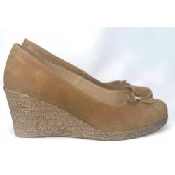 Granatowe zamszowe buty na koturnie PARES GAMIS  3605