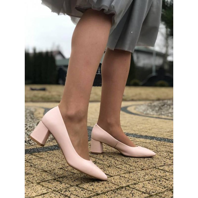 PUDROWY RÓŻ pantofle na słupku LOFT czółenka DAMISS 250