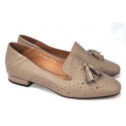 SZARE mokasynki damskie  z łańcuszkiem skórzane buty SIMEN 1546