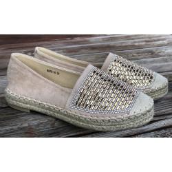 ESPADRYLE koronkowe jasne beżowe buty na platformie CHIANTI 2184