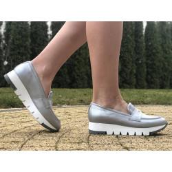 SREBRNE mokasynki damskie na platformie skórzane buty SIMEN 1574