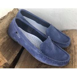 NESSI Mokasynki damskie niebieskie zamszowe buty 17130