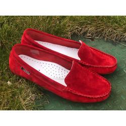 NESSI Mokasynki damskie szare skórzane buty 17130 (194)