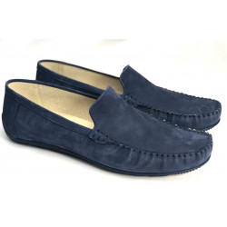 MOKASYNY MĘSKIE granatowe skórzane buty Lavaggio 1564