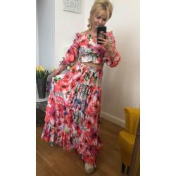 Maxi wizytowa sukienka CHIO w pięknej kolorystyce