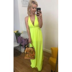 Neonowa plisowana kobieca długa sukienka MAXI CHIO plisowana