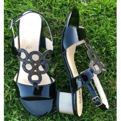 Zamszowe GRANATOWE buty na niskim  koturnie GAMIS  3628