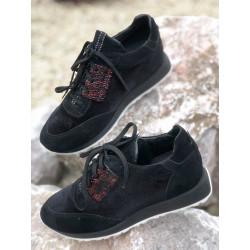 NEAKERSY sport damskie  czarne srebrne  skórzane buty SIMEN 2808