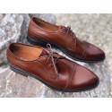Brązowe  skórzane męskie pantofle LAVAGGIO 1902