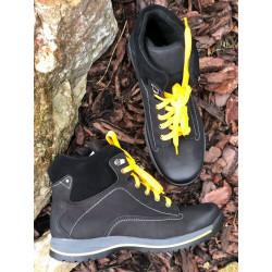 Trekingowe męskie sznurowane czarne skórzane buty NIK 0612