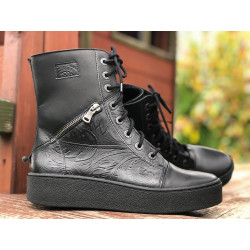 Botki na platformie czarne skórzane wygodne buty Marco 1320