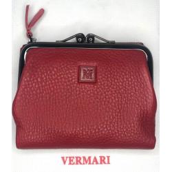Skórzany portfel portmonetka metaliczna  PERL blue VERMARI