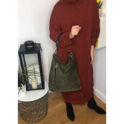 Zamszowa zielona torebka typu worek  INESS MADE IN ITALY