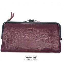 Skórzany portfel damski gładki czerwony CLASSIC