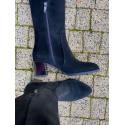 Kozaki  za kolano na niskim obcasie czarne skórzane oficerki BELLUM 1238  MUSZKIETERKI skórzane