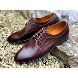 Pantofle męskie brązowe  skórzane LAVAGGIO 1943