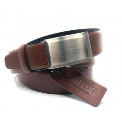 Pasek skórzany brązowy z klamerką 0410