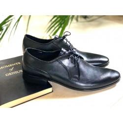 Wizytowe Kris 1010 skórzane czarne licowe pantofle