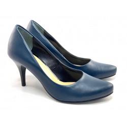 Granatowe lakierowane czółenka na niskim obcasie skórzane buty Toria Blanic 2211