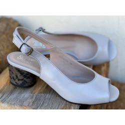 Złote sandały na obcasie  skórzane buty Simen 1332
