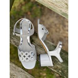 Szare sandały na obcasie  skórzane buty Simen 1332