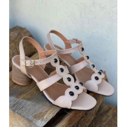 Szare sandały na obcasie  skórzane buty Simen 2533