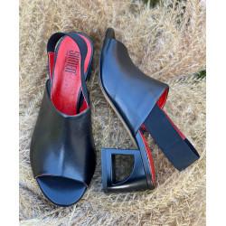 Czarne sandały na obcasie  skórzane buty Simen 2382